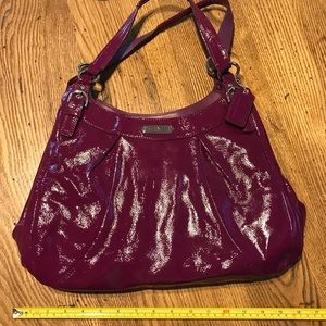 Magenta patent leather purse